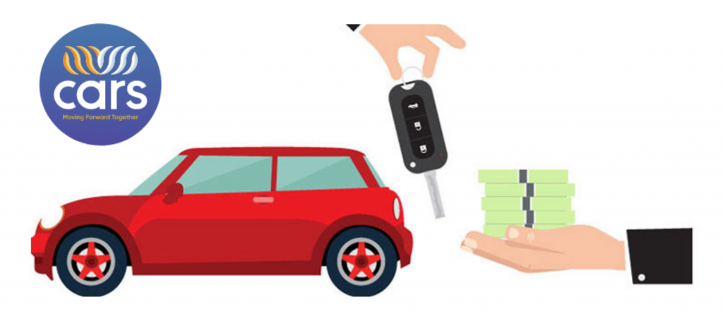 graphic image of car, keys being dropped into a hand, and hand holding cash